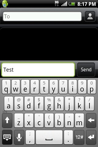 The on-screen QWERTY keyboard has XT9 predictive text - HTC Aria Review