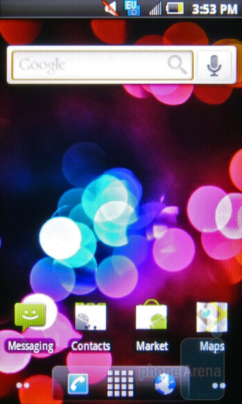 Home screen - For the most part the Samsung Intercept runs stock Android 2.1 - Samsung Intercept Review