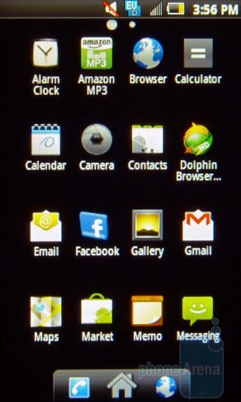 Main menu - For the most part the Samsung Intercept runs stock Android 2.1 - Samsung Intercept Review