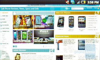 The internet browser of the Samsung Intercept - Samsung Intercept Review