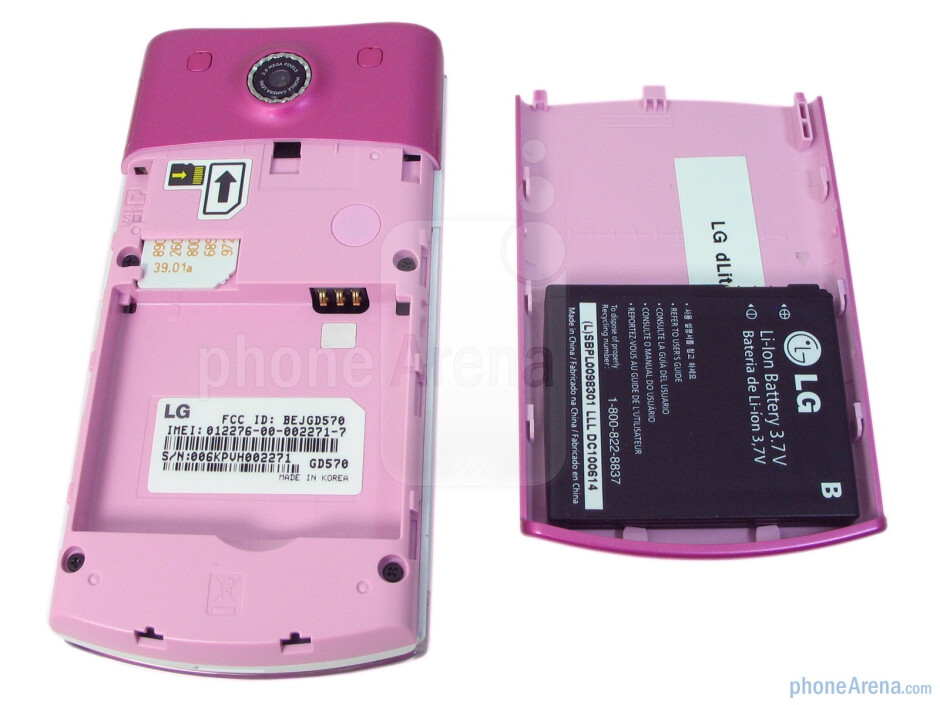 The back of the LG dLite - LG dLite Review