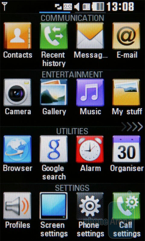 LG Viewty Snap uses the A-Class interface - LG Viewty Snap Review