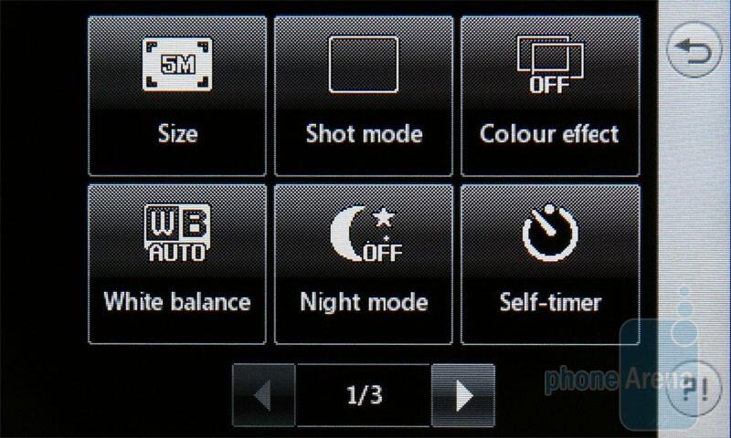 The camera interface - LG Viewty Snap Review