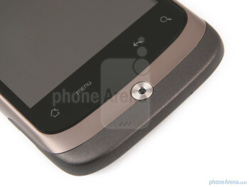 Underneath the screen of the HTC Wildfire are the four Android navigational buttons - HTC Wildfire Review