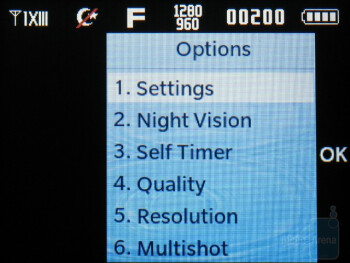 The camera interface - Samsung Intensity II Review