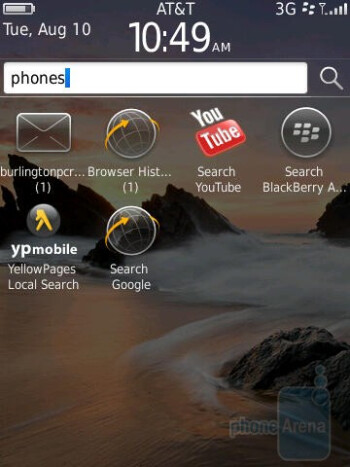 Universal search - RIM BlackBerry Torch 9800 Review