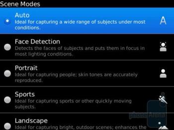 Camera interface of the RIM BlackBerry Torch 9800 - Motorola DROID 2 vs RIM BlackBerry Torch 9800