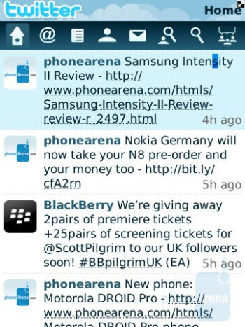 Social networking on the RIM BlackBerry Torch 9800 - Motorola DROID 2 vs RIM BlackBerry Torch 9800