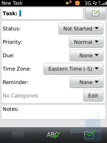 Tasks - Calendar - RIM BlackBerry Torch 9800 Review