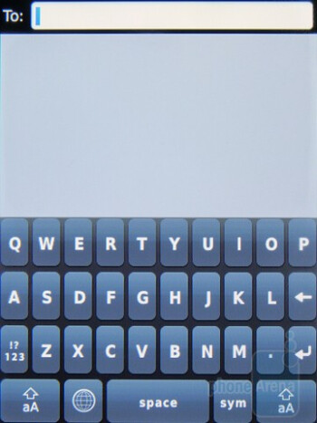 On-screen keyboards of the RIM BlackBerry  Torch 9800 - Motorola DROID 2 vs RIM BlackBerry Torch 9800