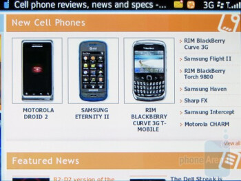 Surfing the web with the RIM BlackBerry  Torch 9800 - Motorola DROID 2 vs RIM BlackBerry Torch 9800