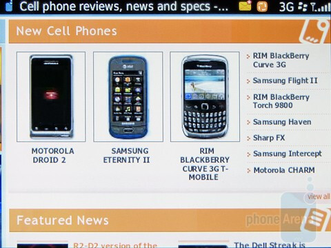 Surfing the web with the RIM BlackBerry  Torch 9800 - RIM BlackBerry Torch 9800 Review