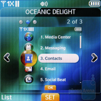 The interface on the Pantech Jest has three themes - Pantech Jest Review