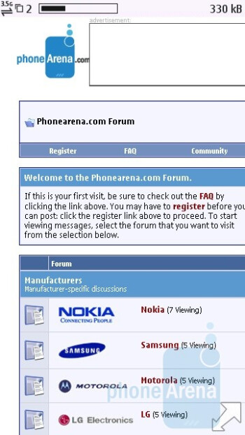 The default browser of the Nokia C6 has kinetic scrolling and double-tap-to-zoom - Nokia C6 Review