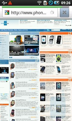 The default WebKit-based browser renders even heavy pages quickly - Samsung Galaxy 3 Review
