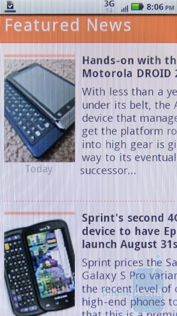 The  web browser of Motorola DROID 2 Global - Verizon iPhone 4 vs DROID 2 Global