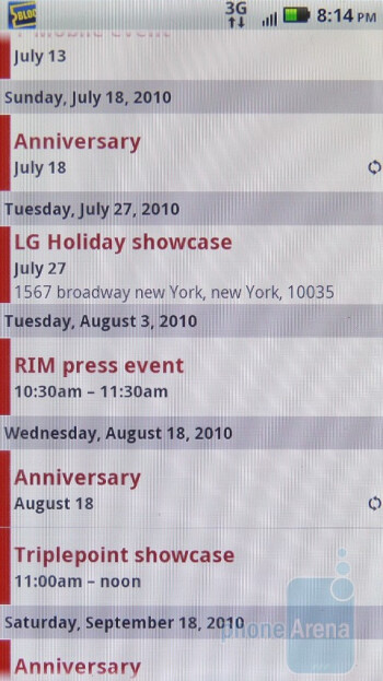 The Calendar app of Motorola DROID 2 - Motorola DROID 2 Review