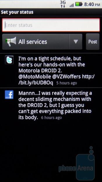 Social networking on the Motorola DROID 2 Global - Verizon iPhone 4 vs DROID 2 Global