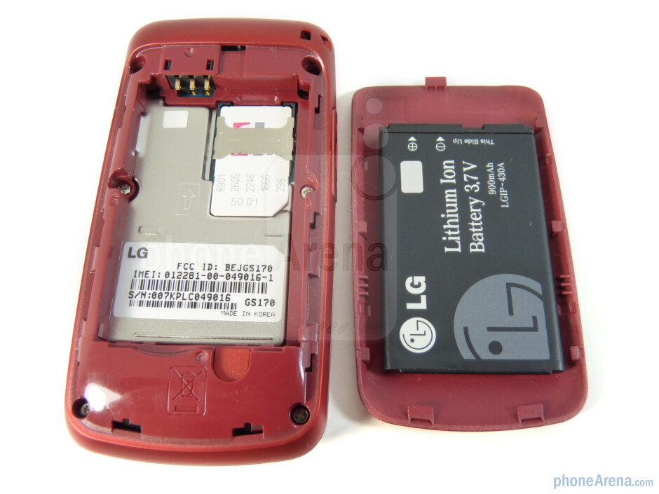 The back of the LG GS170 - LG GS170 Review