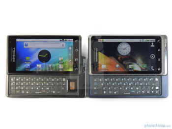 Both Motorola DROID 2 (right and bellow) and Motorola DROID (left and above) exude a premium industrial design - Motorola DROID 2 vs. Motorola DROID