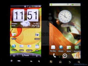 HTC Droid Incredible (left) next to Motorola DROID 2 (right) - Motorola DROID 2 vs. HTC Droid Incredible