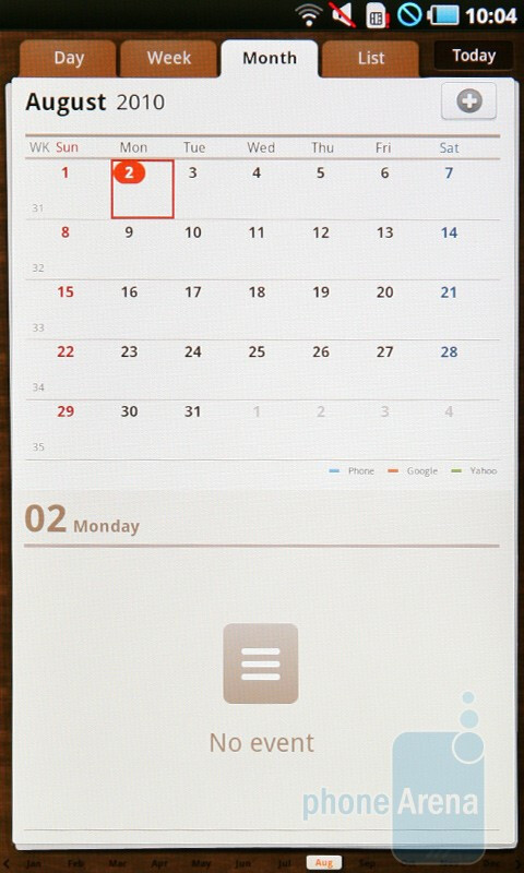 The calendar - Samsung Galaxy Tab Preview