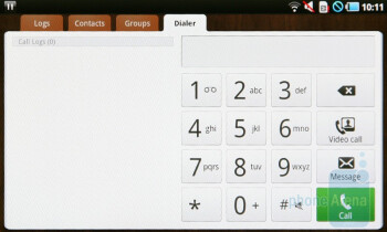 The dialing screen - Samsung Galaxy Tab Preview