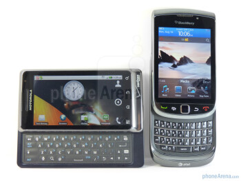The keyboards of the two devices - Motorola DROID 2 vs RIM BlackBerry Torch 9800