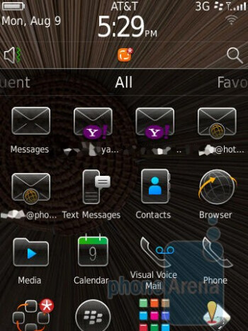 The interface of the RIM BlackBerry Torch 9800 - Motorola DROID 2 vs RIM BlackBerry Torch 9800