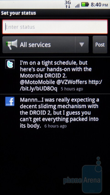 Social networking options on the Motorola DROID 2 - Motorola DROID 2 vs RIM BlackBerry Torch 9800