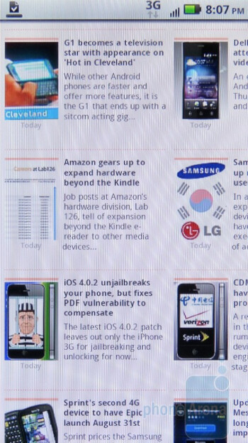 The web browser of Motorola DROID 2 - Motorola DROID 2 vs RIM BlackBerry Torch 9800