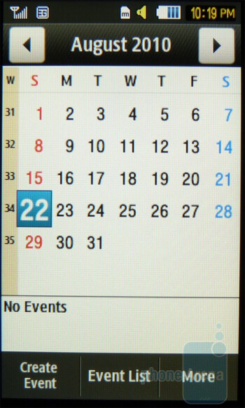 Calendar - Samsung Eternity II Review