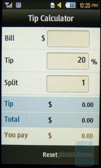 Tip calculator - Samsung Eternity II Review