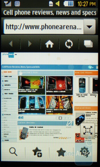 Browsing the net with the Samsung Eternity II - Samsung Eternity II Review