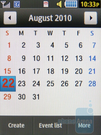 Calendar - Samsung Flight II Review