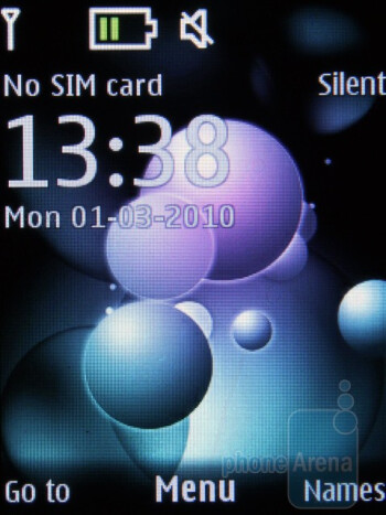 Home screen - The interface of the Nokia 7230 - Nokia 7230 Review