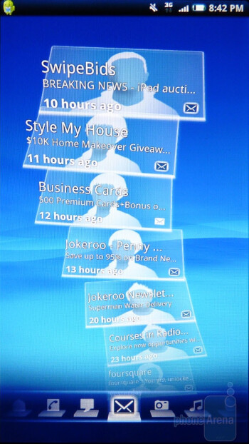 Timescape allows you to see latest information about your Facebook, Twitter, emails and media In the form of cards called Splines - Sony Ericsson Xperia X10a Review