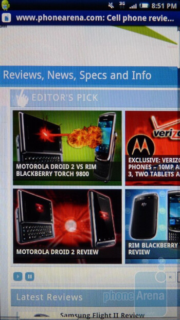 The Sony Ericsson Xperia X10a comes with the stock Android web browser - Sony Ericsson Xperia X10a Review