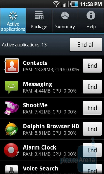 Task manager - Samsung Epic 4G Review