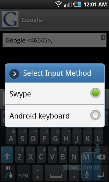 The on-screen keyboard of the Samsung Epic 4G - Google Nexus S vs Samsung Epic 4G