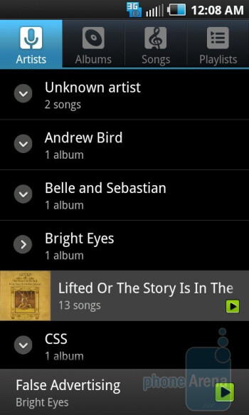 The music player of the Samsung Epic 4G - Google Nexus S vs Samsung Epic 4G