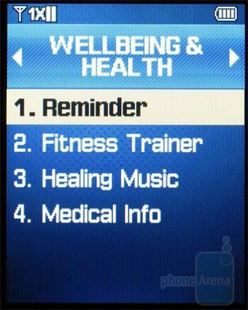 Wellness & health menu - Samsung Haven Review
