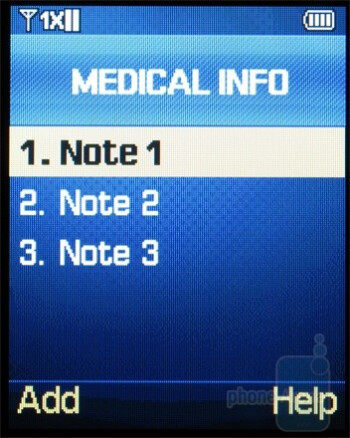 You are able to enter in your medical info - Samsung Haven Review