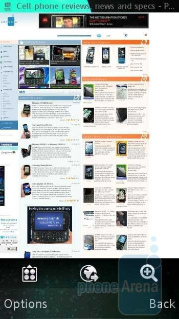 The internet browser of Sony Ericsson Vivaz - Sony Ericsson Vivaz for AT&T Review