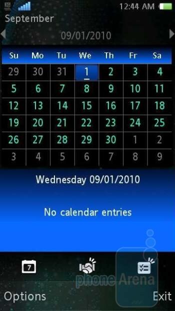 Calendar - Sony Ericsson Vivaz for AT&T Review