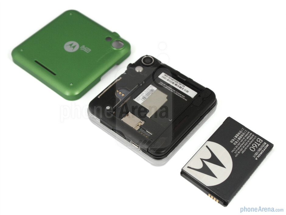 Removing the back-panel reveals a microSDHC card slot - Motorola FLIPOUT Review
