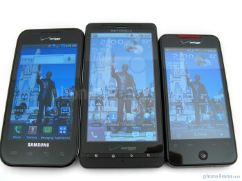 From left to right - Samsung Fascinate, Motorola DROID X, HTC Droid Incredible - Samsung Fascinate Review
