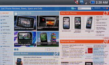 The standard WebKit-based Android browser is on board - Samsung Fascinate Review