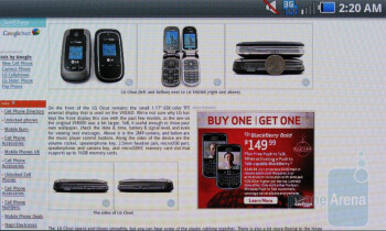 The web browser of the Samsung Fascinate - Samsung Continuum vs Samsung Fascinate