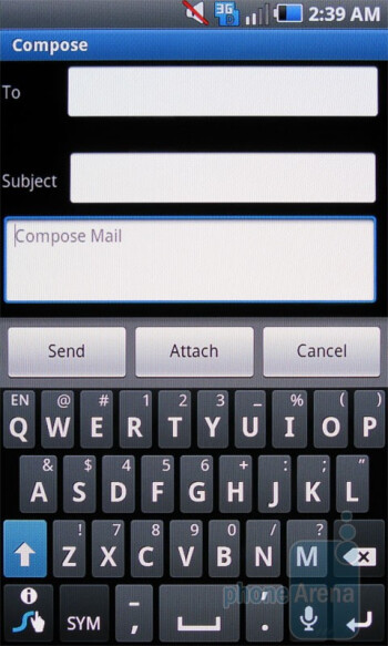 Samsung Fascinate - The on-screen QWERTY keyboard on the Motorola DROID X - Samsung Fascinate vs Motorola DROID X